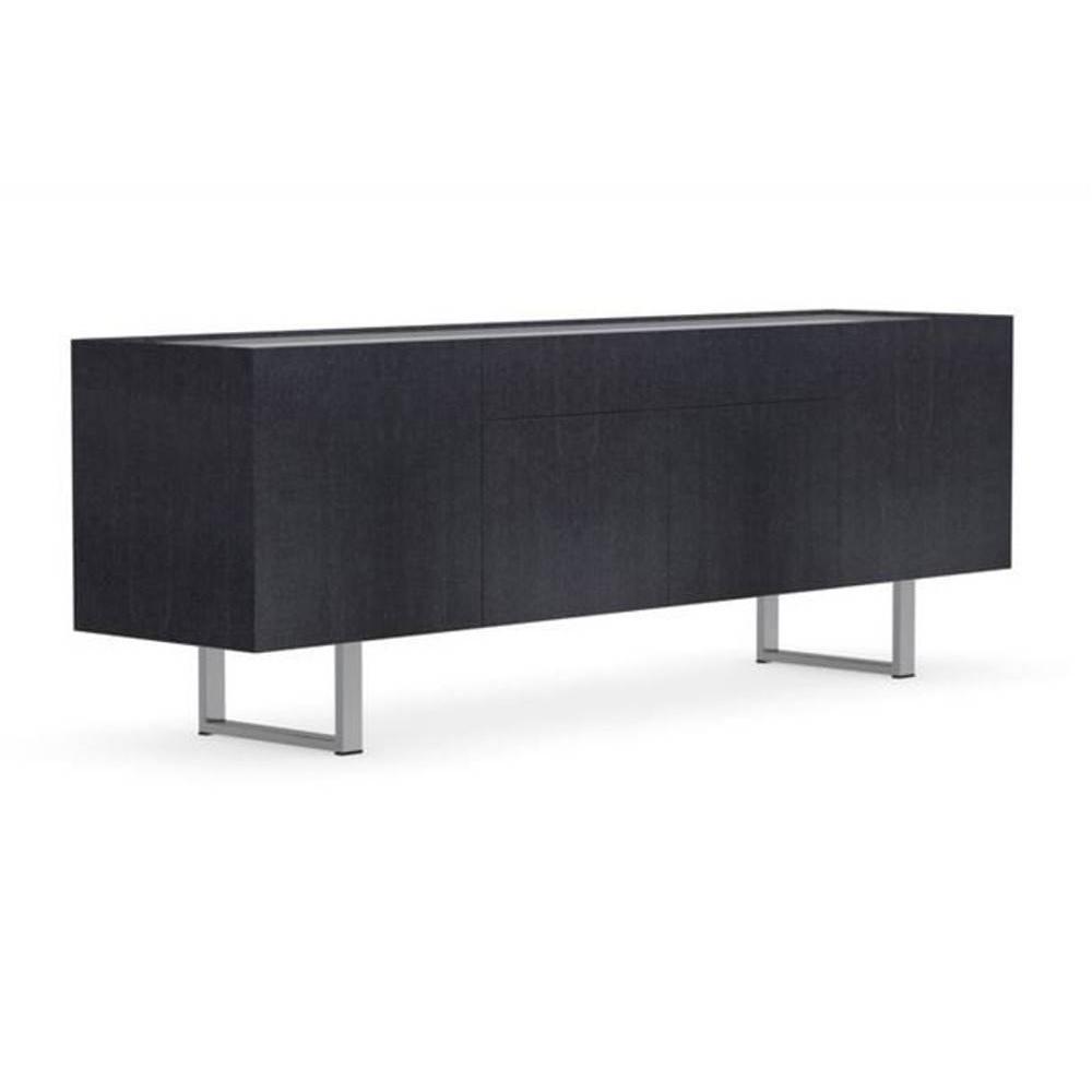 buffets meubles et rangements calligaris buffet bas design horizon gris graphite plateau verre. Black Bedroom Furniture Sets. Home Design Ideas