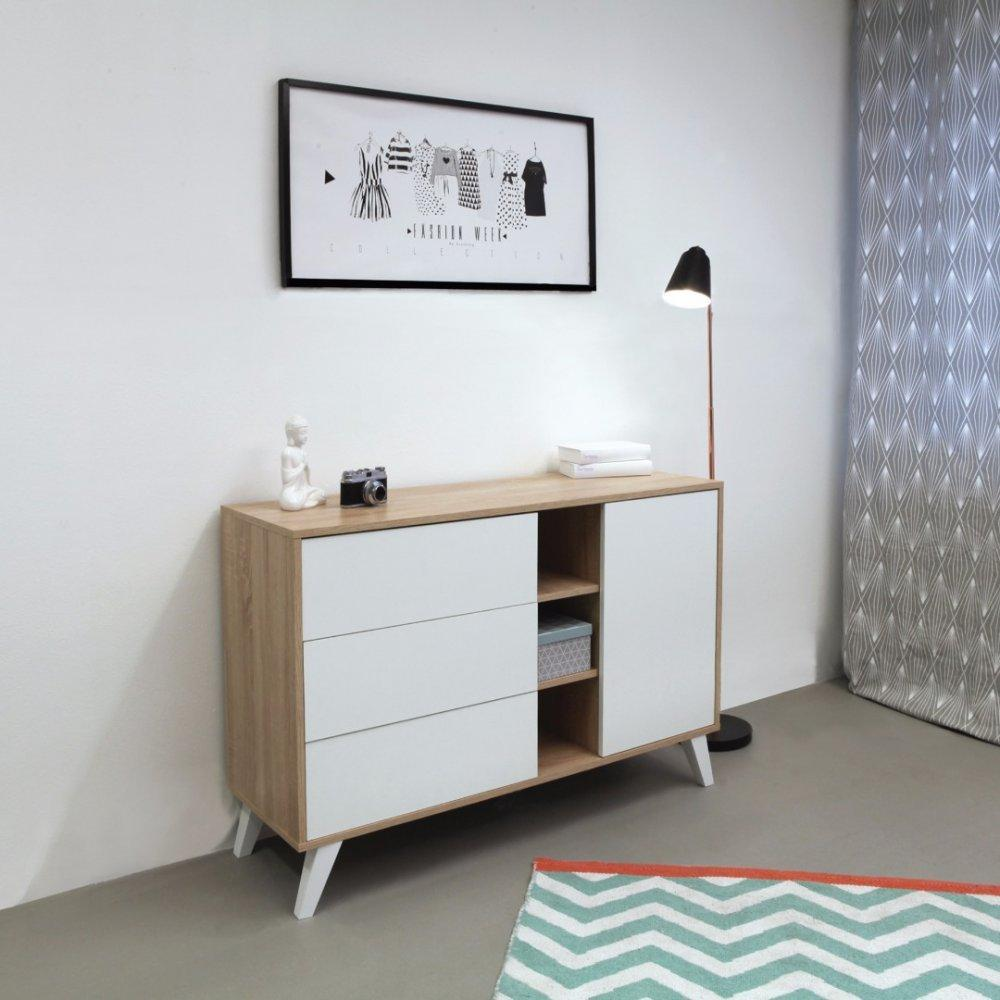 buffets meubles et rangements buffet design scandinave square 1 porte 3 tiroirs blanc inside75. Black Bedroom Furniture Sets. Home Design Ideas