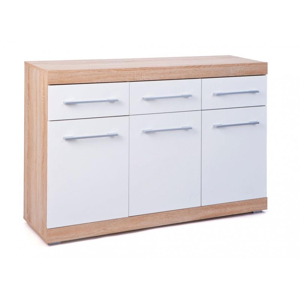 buffets bas meubles et rangements buffet lublin ch ne blanc 3 portes 3 tiroirs inside75. Black Bedroom Furniture Sets. Home Design Ideas