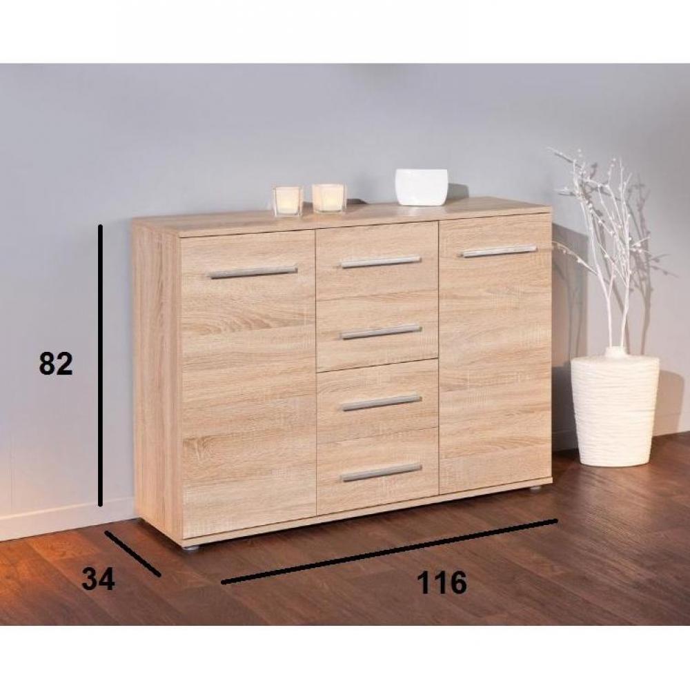 buffets bas meubles et rangements buffet stettin ch ne blanc de sonoma 2 portes 4 tiroirs. Black Bedroom Furniture Sets. Home Design Ideas