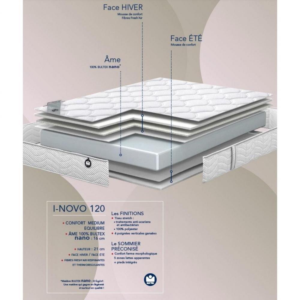 matelas chambre literie bultex matelas 120 200 cm i novo 120 paiss. Black Bedroom Furniture Sets. Home Design Ideas