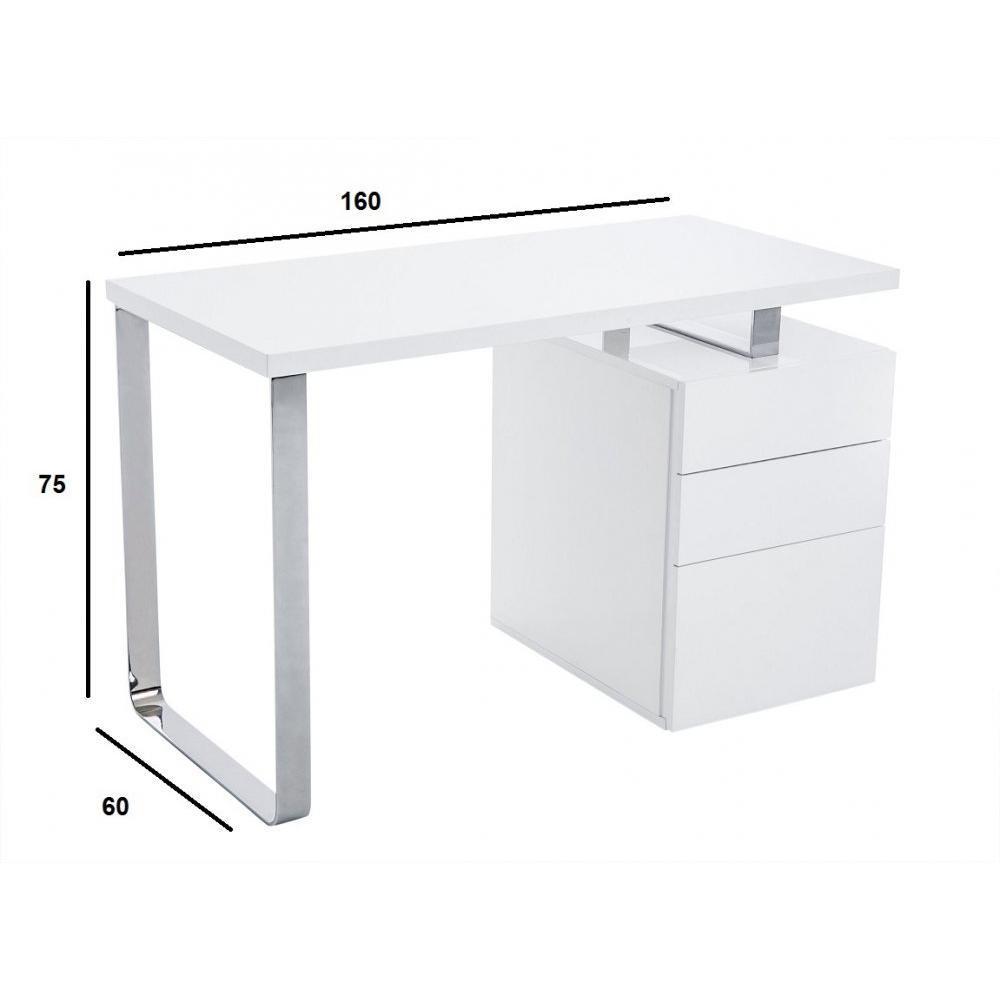 bureaux meubles et rangements bureau masdrovia 160 x 60 blanc brillant avec caisson 3 tiroirs. Black Bedroom Furniture Sets. Home Design Ideas