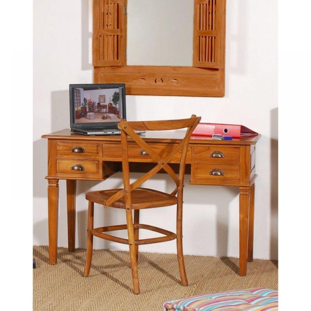 bureaux meubles et rangements bureau 5 tiroirs en teck massif style colonial inside75. Black Bedroom Furniture Sets. Home Design Ideas