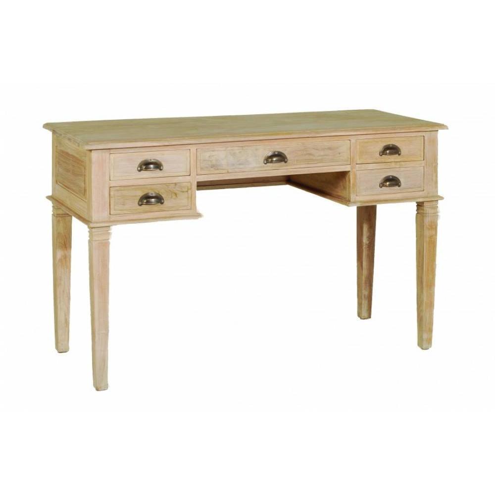 Bureaux tables et chaises bureau api 5 tiroirs en teck blanchi style coloni - Bureau style colonial ...