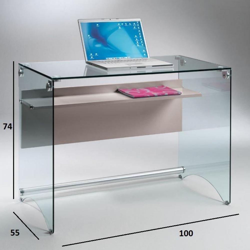 Bureaux meubles et rangements bureau charli design en verre avec une tag r - Bureau verre et bois ...