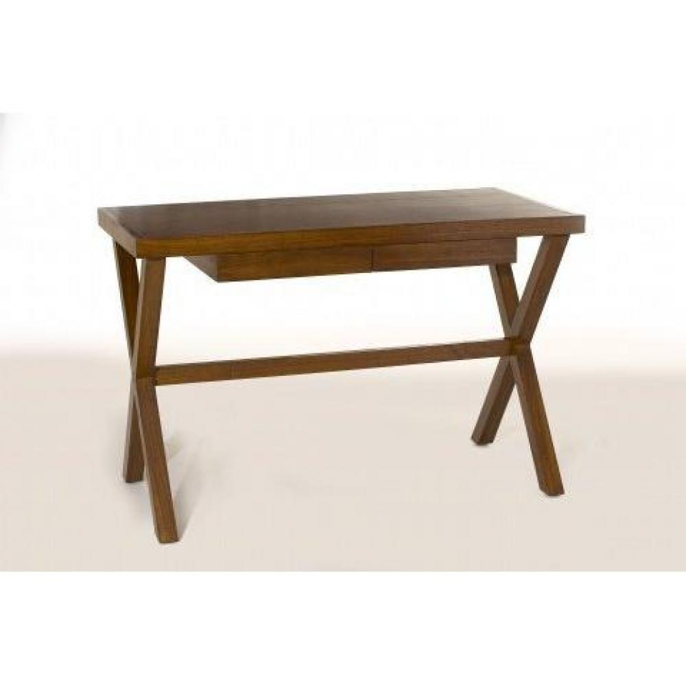 bureaux meubles et rangements bureau lauren pieds crois s en teck colonial inside75. Black Bedroom Furniture Sets. Home Design Ideas