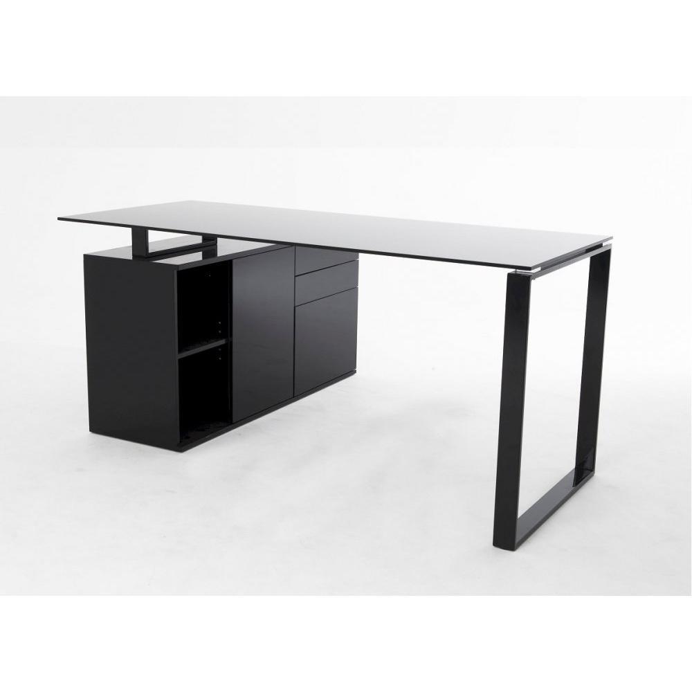 Bureaux meubles et rangements delia bureau en verre noir for Bureau d angle noir