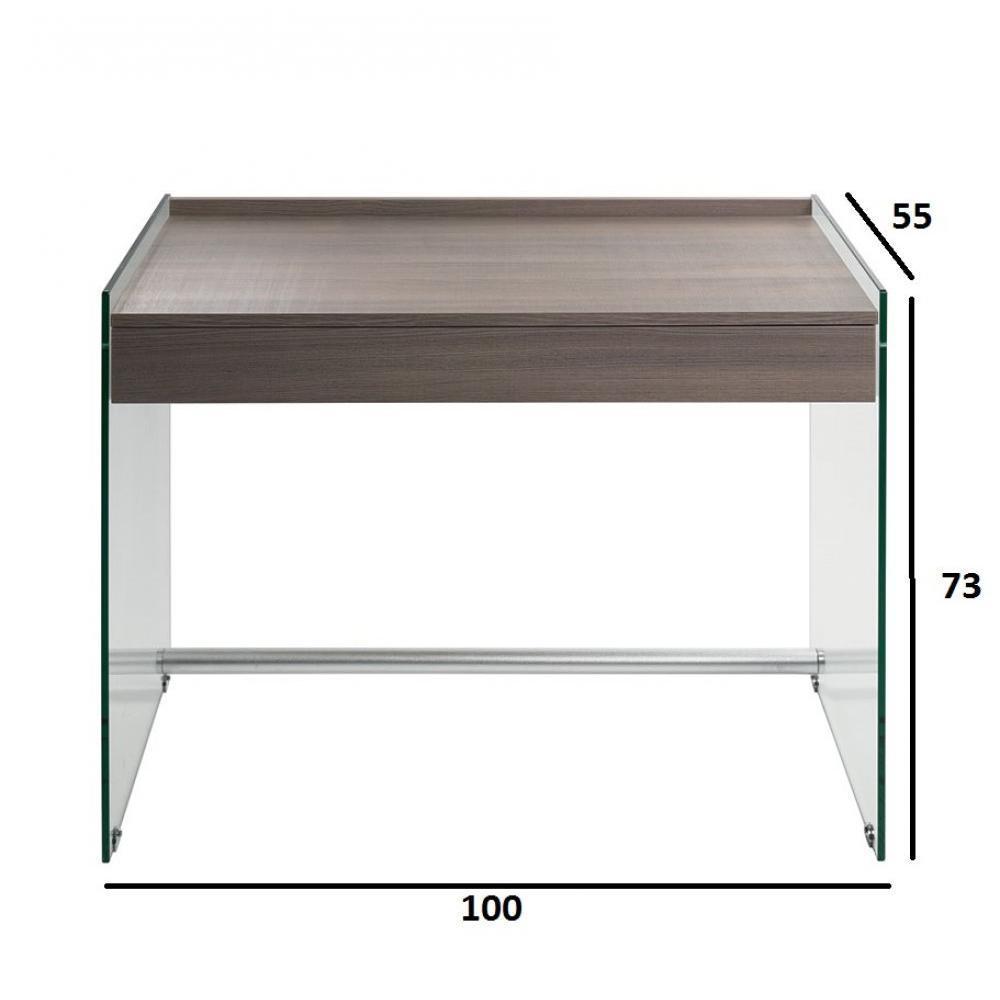 bureaux meubles et rangements bureau tokio 1 tiroir coloris orme pi tement en verre inside75. Black Bedroom Furniture Sets. Home Design Ideas