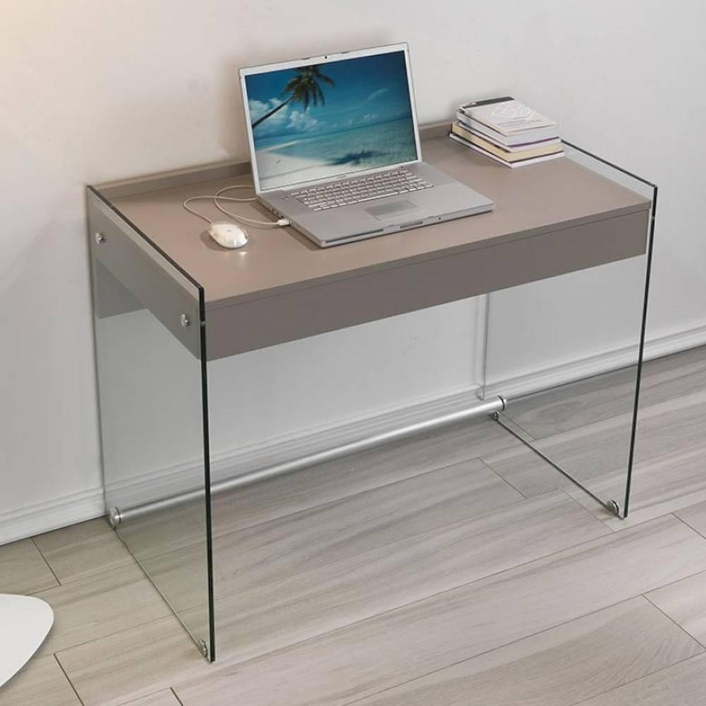 bureaux meubles et rangements porte ordinateur mydesk gris taupe pi tement en verre avec 1. Black Bedroom Furniture Sets. Home Design Ideas