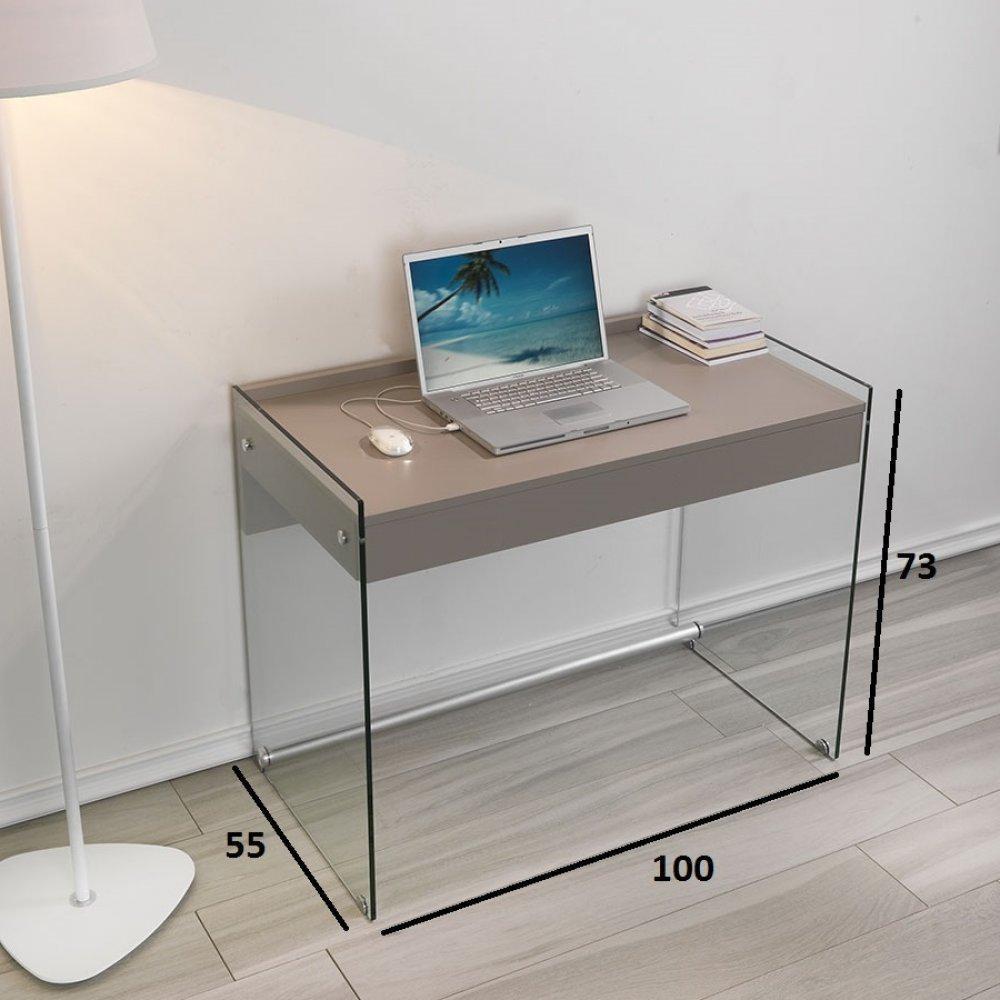 bureaux meubles et rangements bureau tokio 1 tiroir taupe pi tement en verre inside75. Black Bedroom Furniture Sets. Home Design Ideas