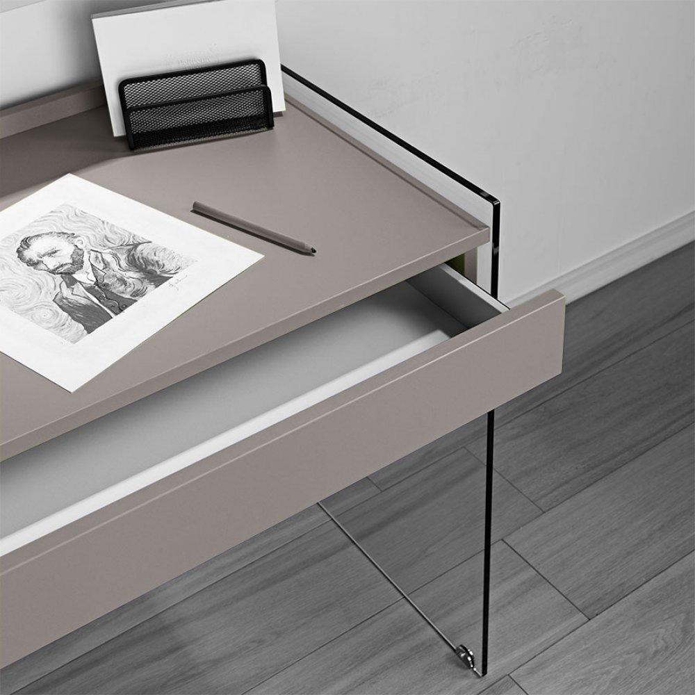 bureaux meubles et rangements porte ordinateur mydesk gris taupe pi tement en verre avec 1. Black Bedroom Furniture Sets. Home Design Ideas
