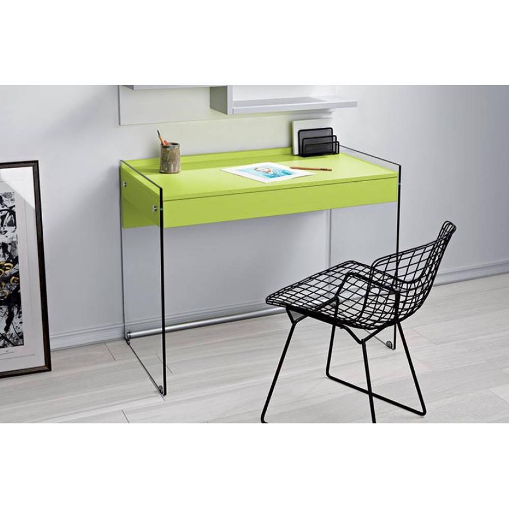 bureaux meubles et rangements bureau tokio 1 tiroir vert pi tement en verre inside75. Black Bedroom Furniture Sets. Home Design Ideas