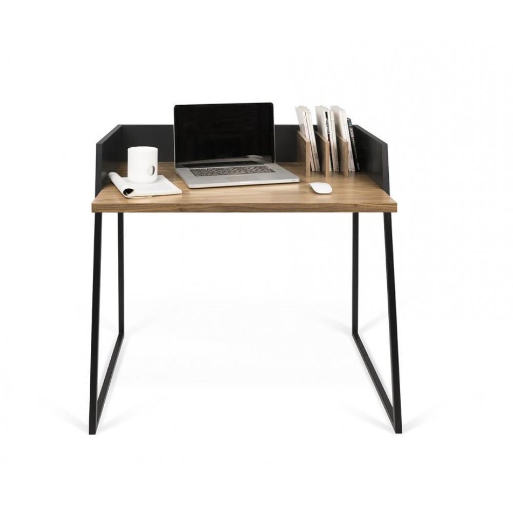 bureaux meubles et rangements bureau design temahome volga plateau noyer avec pi tement noir. Black Bedroom Furniture Sets. Home Design Ideas