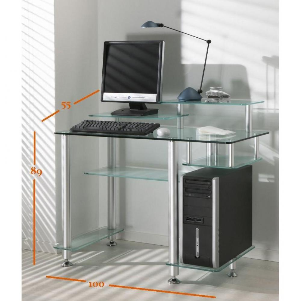 bureaux meubles et rangements little desk bureau verre transparent 7 plateaux inside75. Black Bedroom Furniture Sets. Home Design Ideas