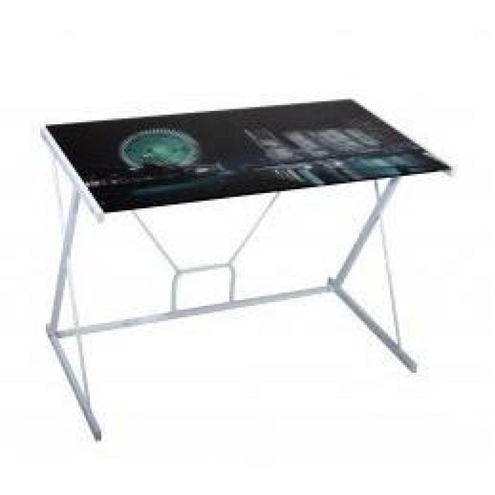 Bureaux meubles et rangements bureau empire avec plateau en verre imprim - Bureau plaque de verre ...