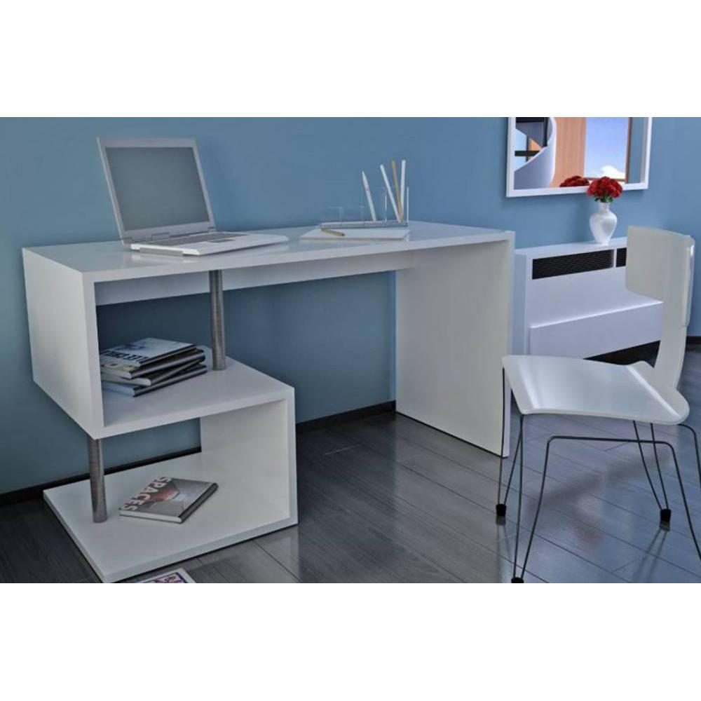 bureau blanc laque avec rangement bureaux taupe and. Black Bedroom Furniture Sets. Home Design Ideas