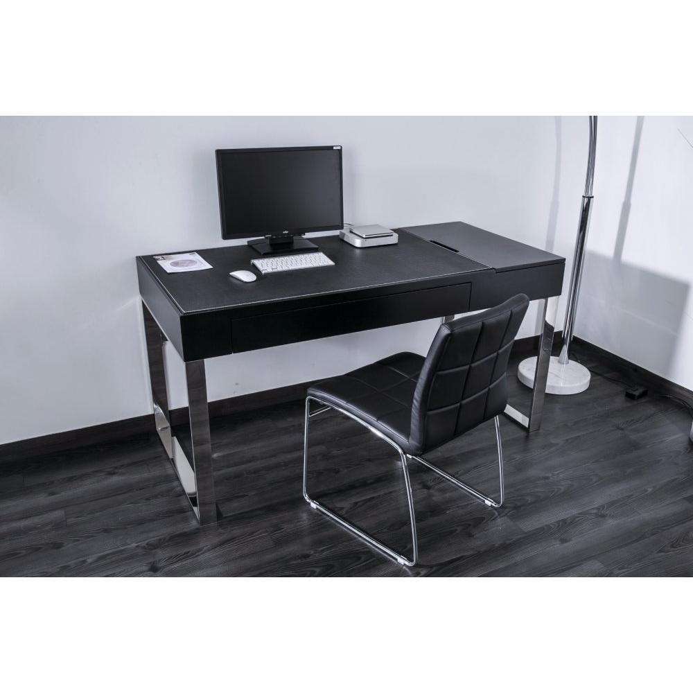 bureaux meubles et rangements delia bureau en verre noir avec caisson de rangement. Black Bedroom Furniture Sets. Home Design Ideas