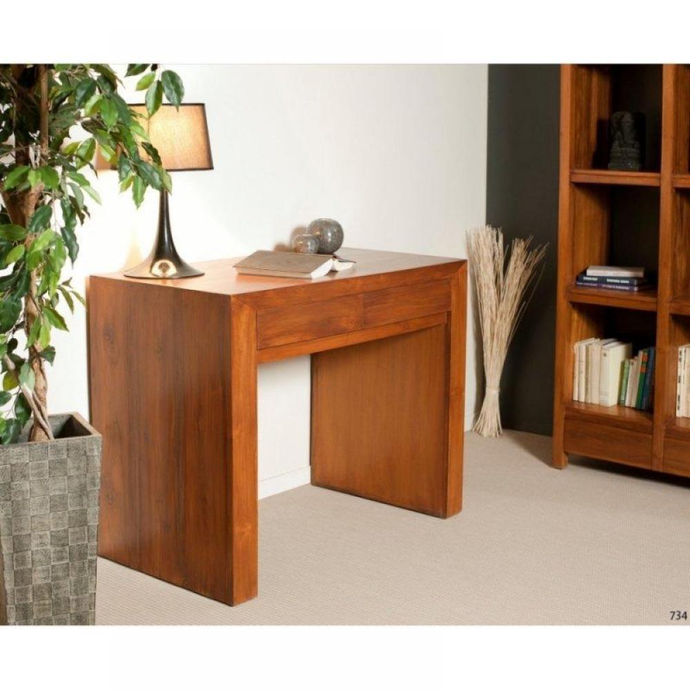 meubles de bureau meubles et rangements bureau 2 tiroirs en teck massif style colonial inside75. Black Bedroom Furniture Sets. Home Design Ideas