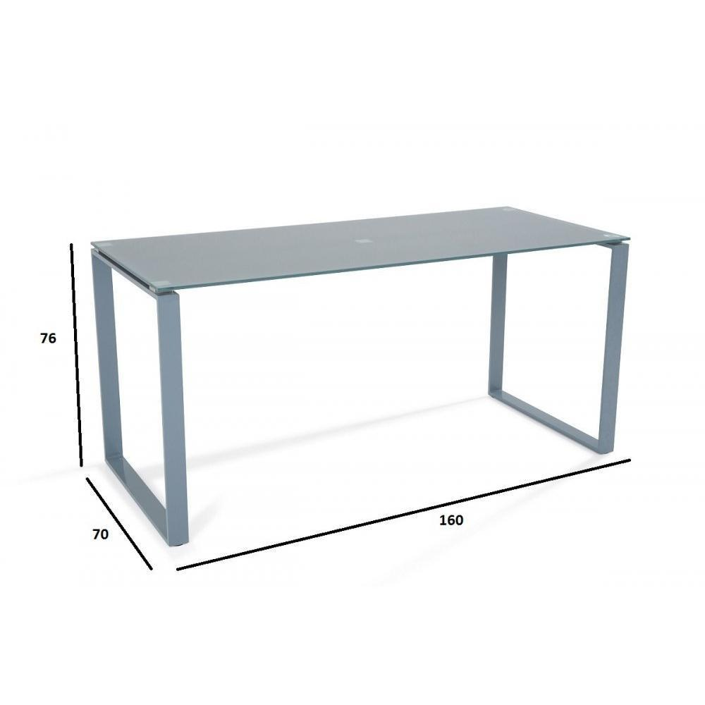 bureau nasdrovia en verre tremp gris 160 cm ebay. Black Bedroom Furniture Sets. Home Design Ideas