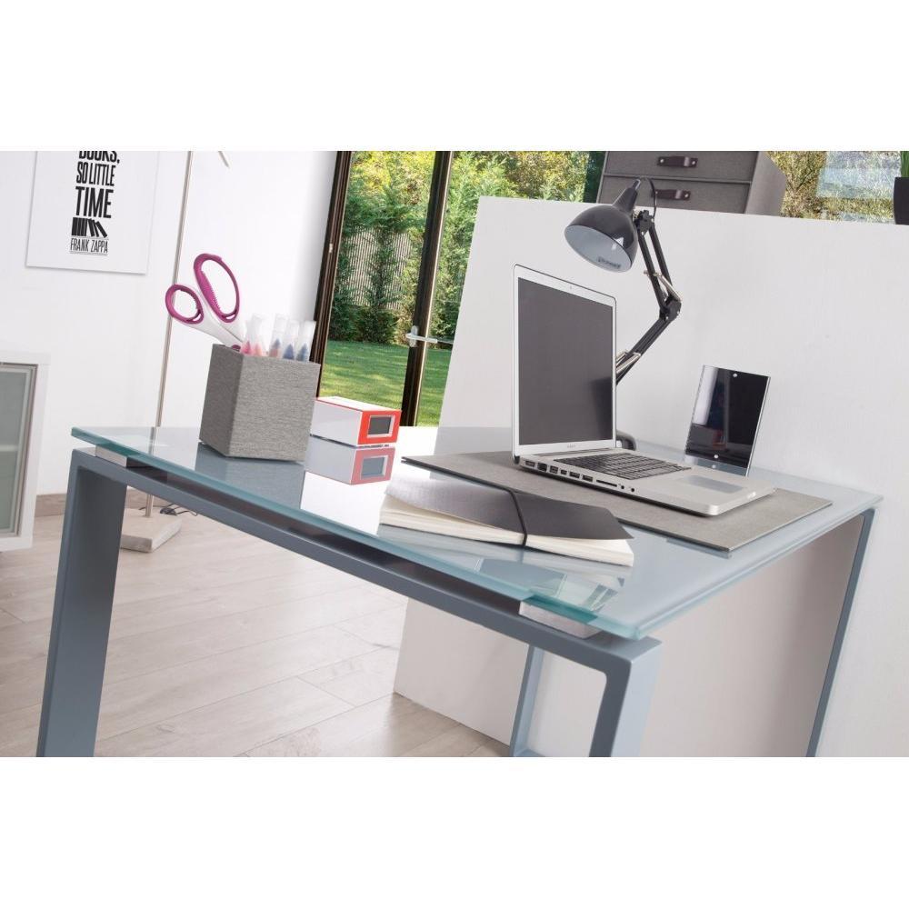 bureaux meubles et rangements bureau nasdrovia en verre tremp gris 160 cm inside75. Black Bedroom Furniture Sets. Home Design Ideas