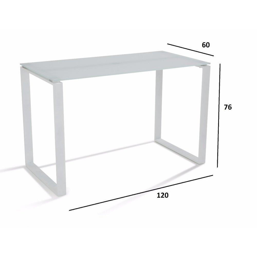 Bureaux meubles et rangements bureau nasdrovia en verre tremp blanc 120 cm - Bureau verre et acier ...