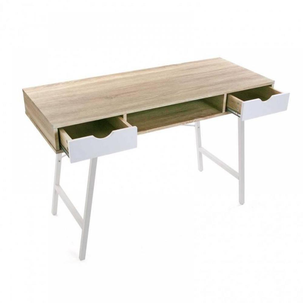 Bureaux, meubles et rangements, Bureau design TAZLA plateau bois piétement blanc Inside75 # Bureau Plateau Bois