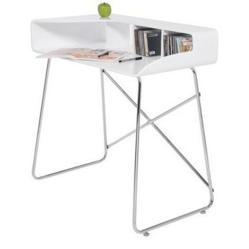 petit bureau studio laqu blanc brillant pieds chrom s ebay. Black Bedroom Furniture Sets. Home Design Ideas