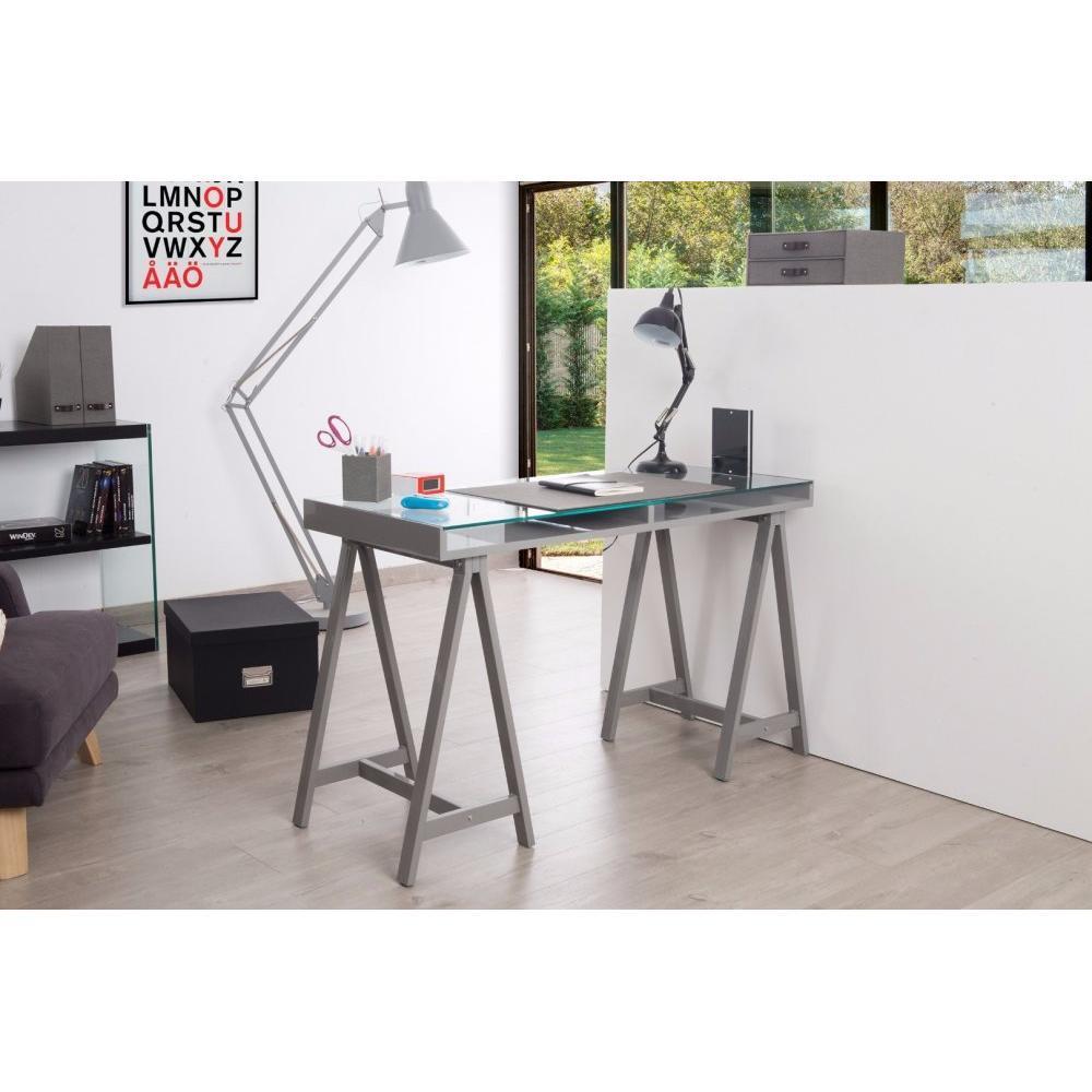 Bureaux meubles et rangements bureau study gris plateaux en verre tremp - Bureau gris et blanc ...