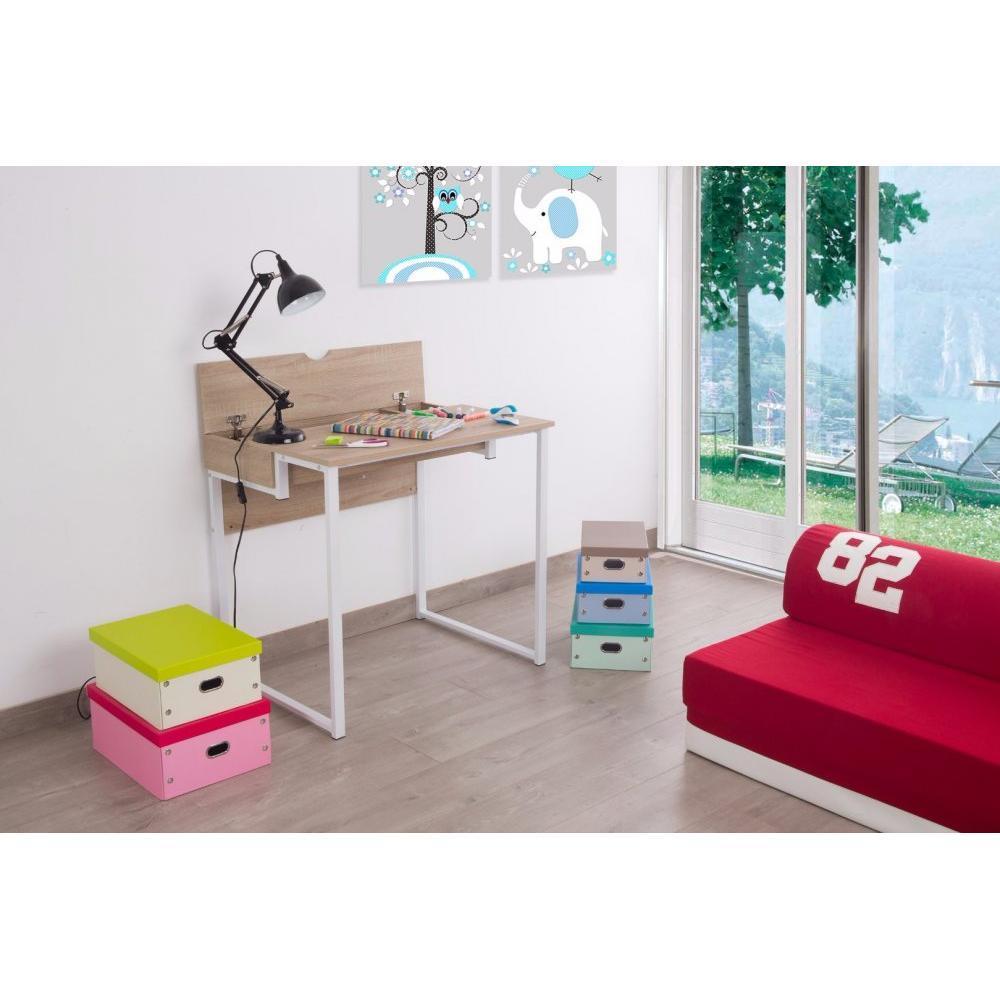 Bureaux meubles et rangements bureau worky1 design blanc for Bureau 80 cm longueur
