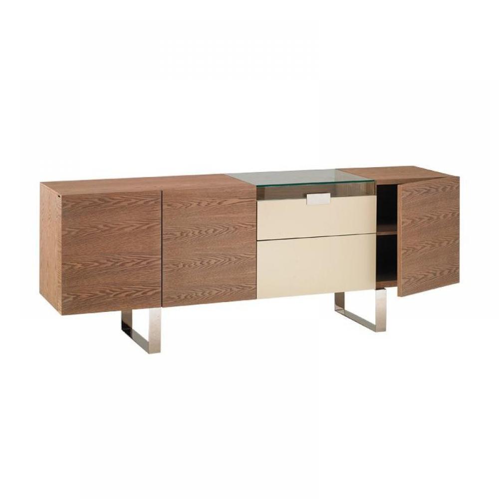Buffets, meubles et rangements, BUTTERFLY buffet design plateau verre tiroirs portes creme pieds