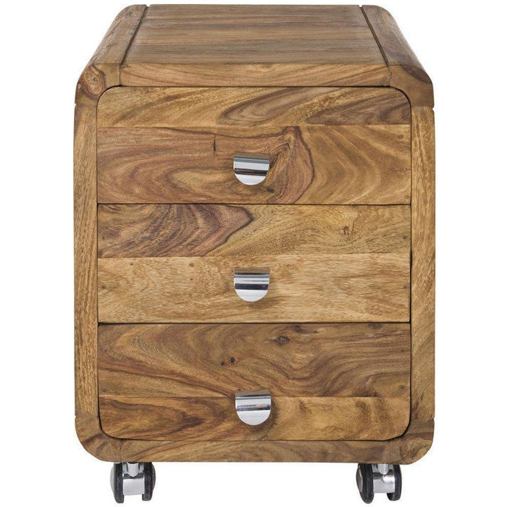 chevets meubles et rangements caisson sur roulette wood 3 tiroirs inside75. Black Bedroom Furniture Sets. Home Design Ideas