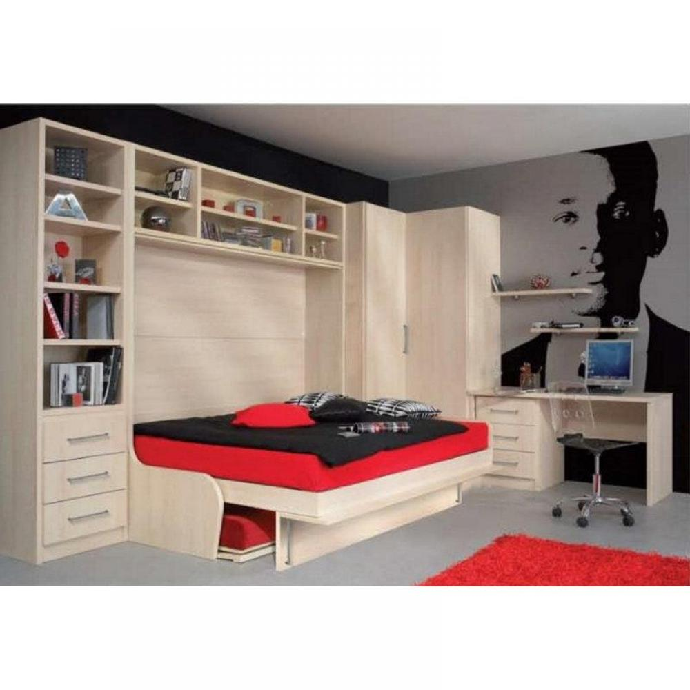 lit avec armoire int gr e table de lit. Black Bedroom Furniture Sets. Home Design Ideas