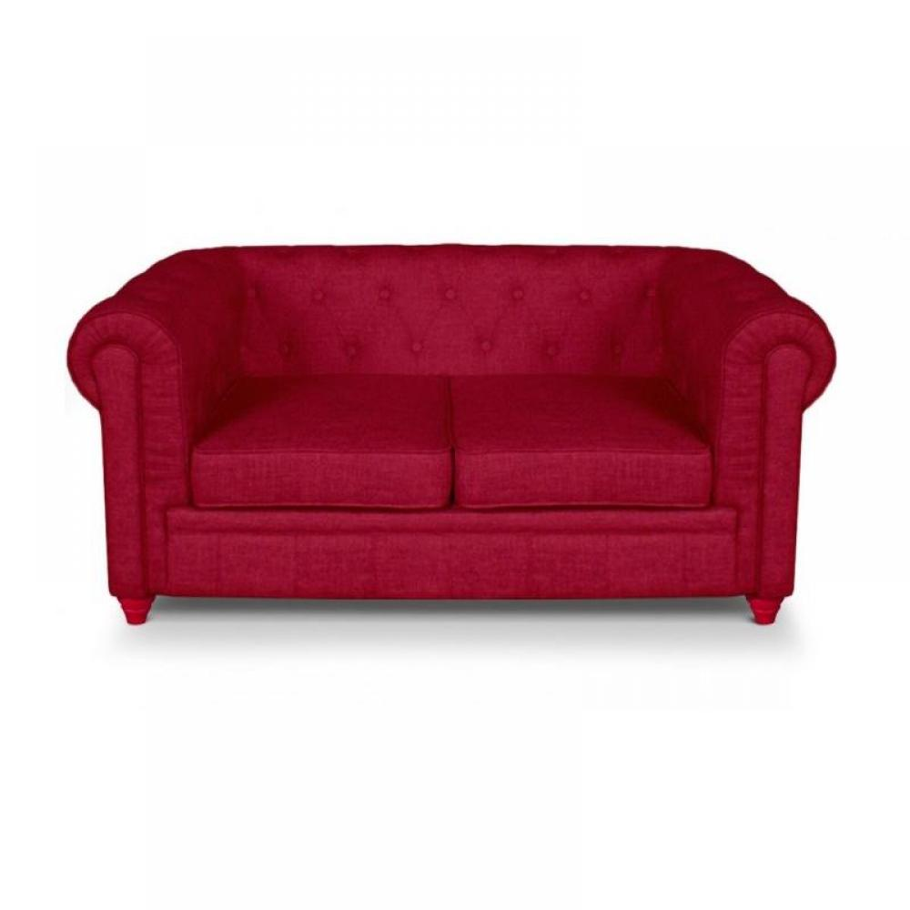 Canap fixe chesterfield royal 2 places effet lin rouge ebay - Canape chesterfield lin ...