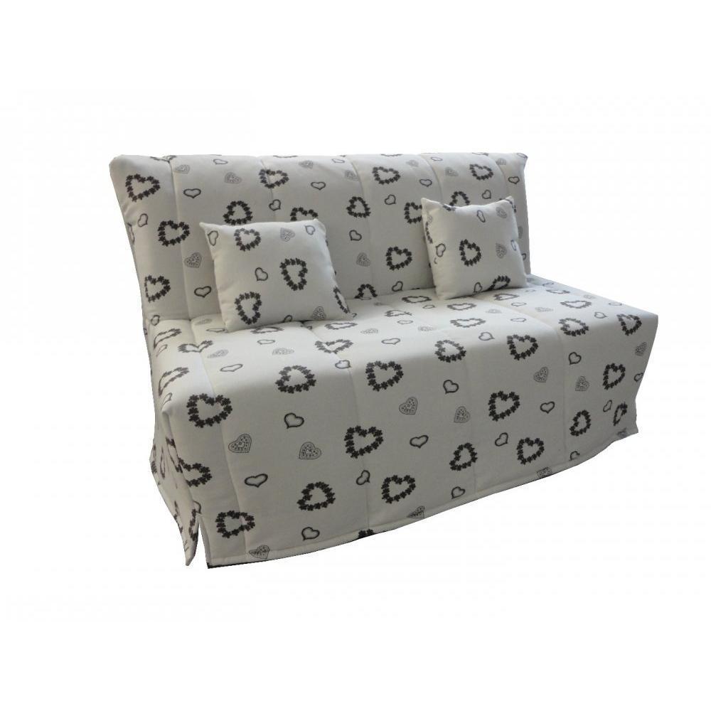 canap s lits bz canap s et convertibles canap bz convertible flo beige motifs coeurs 140. Black Bedroom Furniture Sets. Home Design Ideas