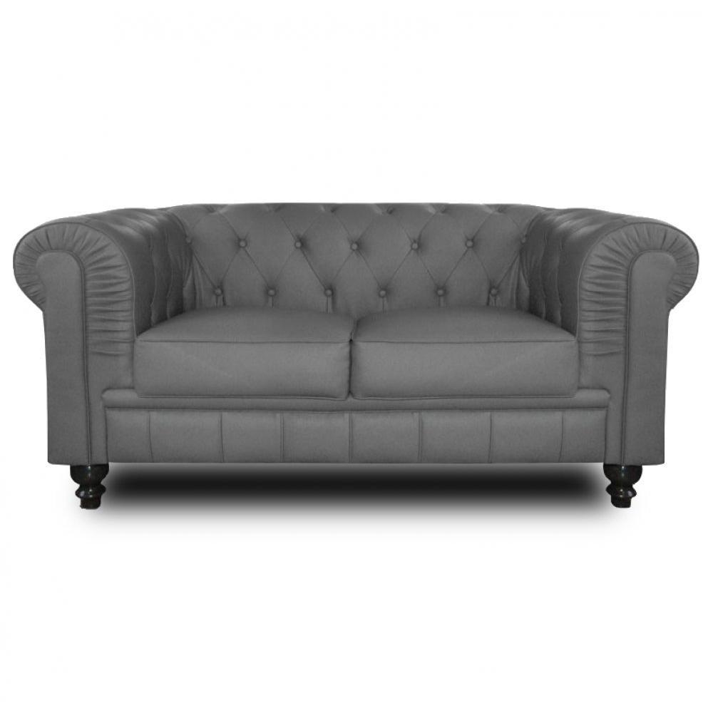 Canap s et convertibles canap fixe chesterfield royal - Canape chesterfield tissu gris ...