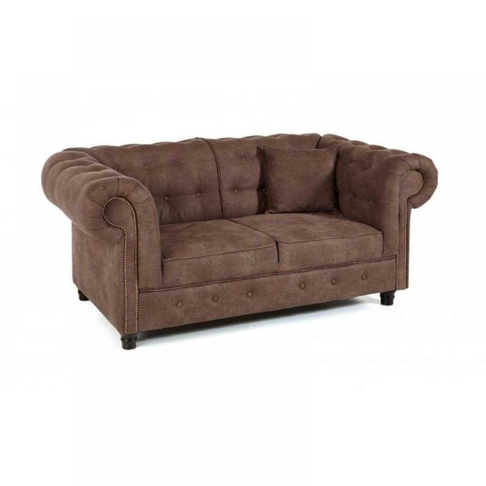 Canap fixe 2 places oxford chesterfield marron vintage ebay - Canape chesterfield vintage ...