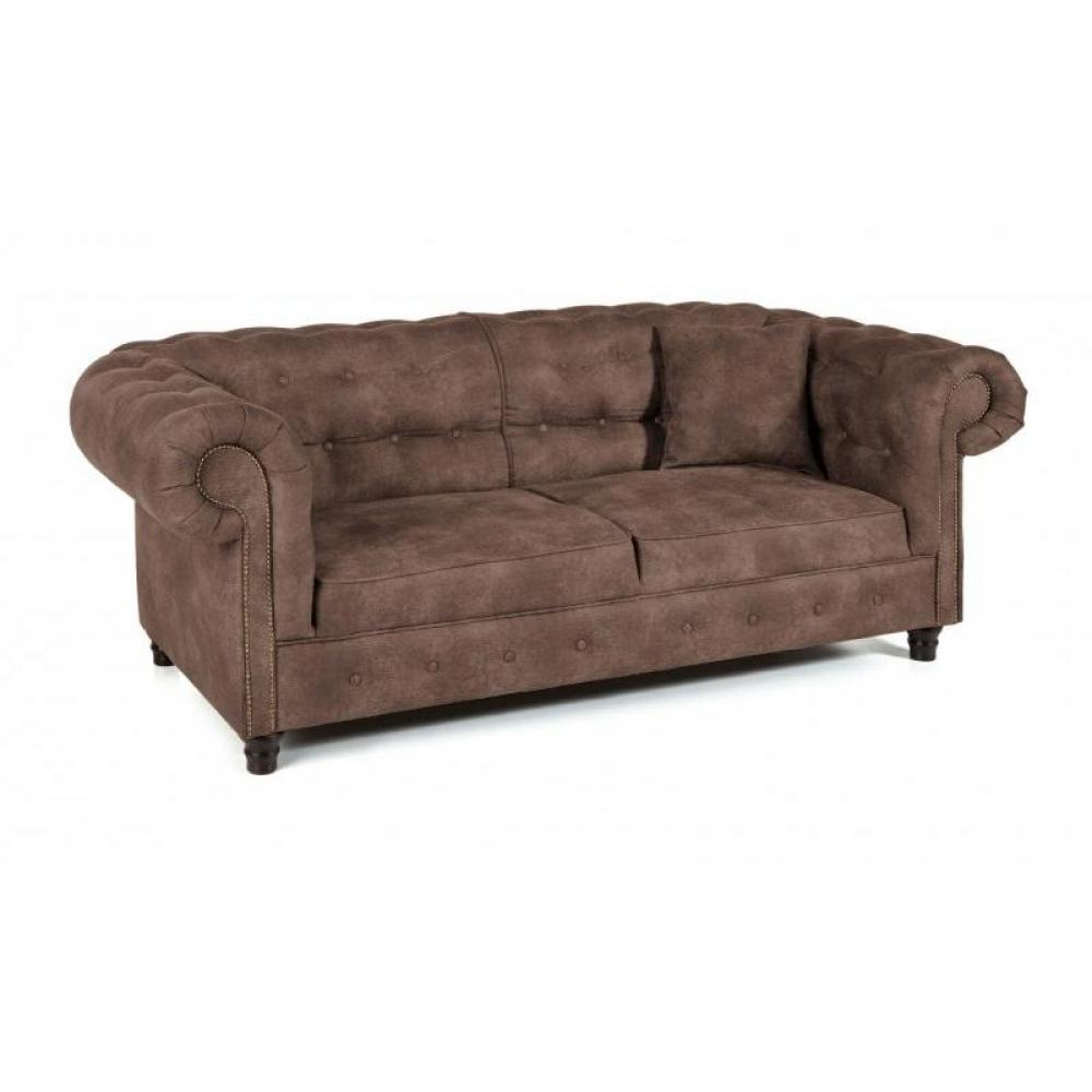 Canap chesterfield anglais 3 places en cuir vivaldi for Canape chesterfield
