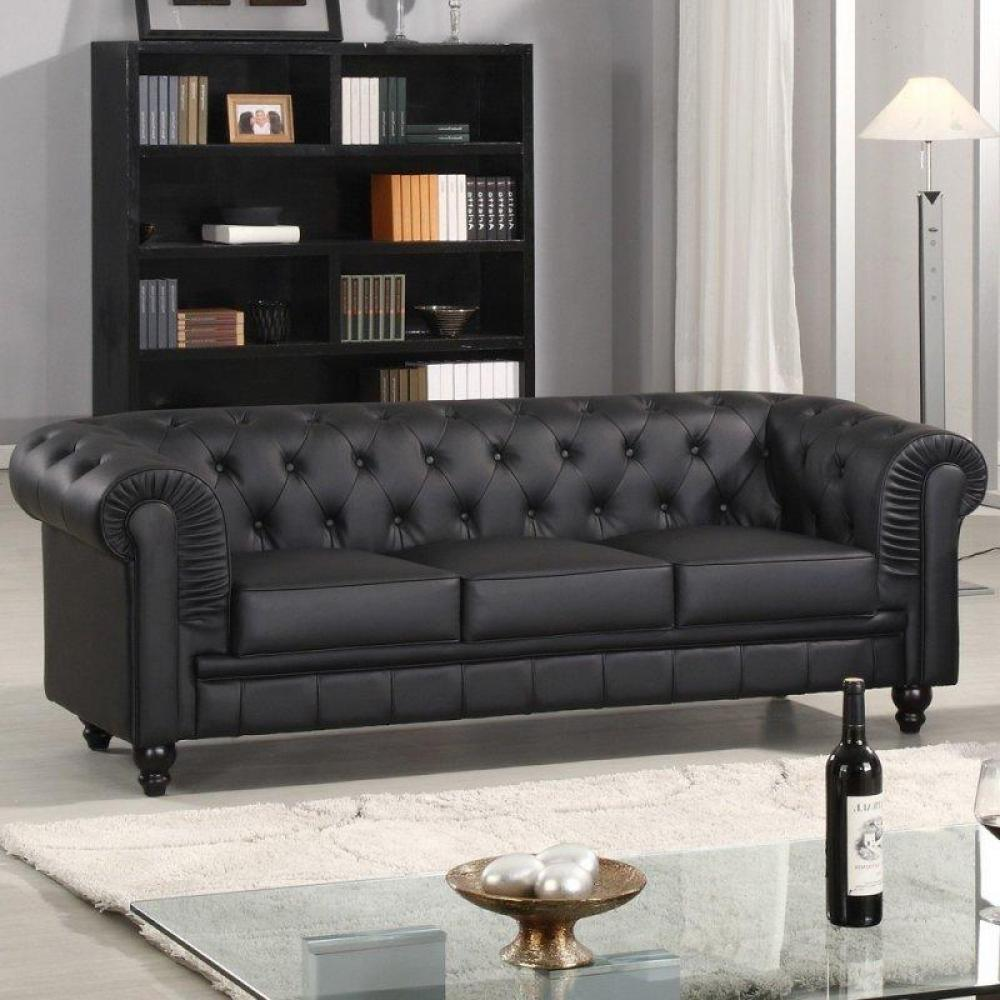 canap s fixes canap s et convertibles canap fixe chesterfield royal 3 places noir inside75. Black Bedroom Furniture Sets. Home Design Ideas