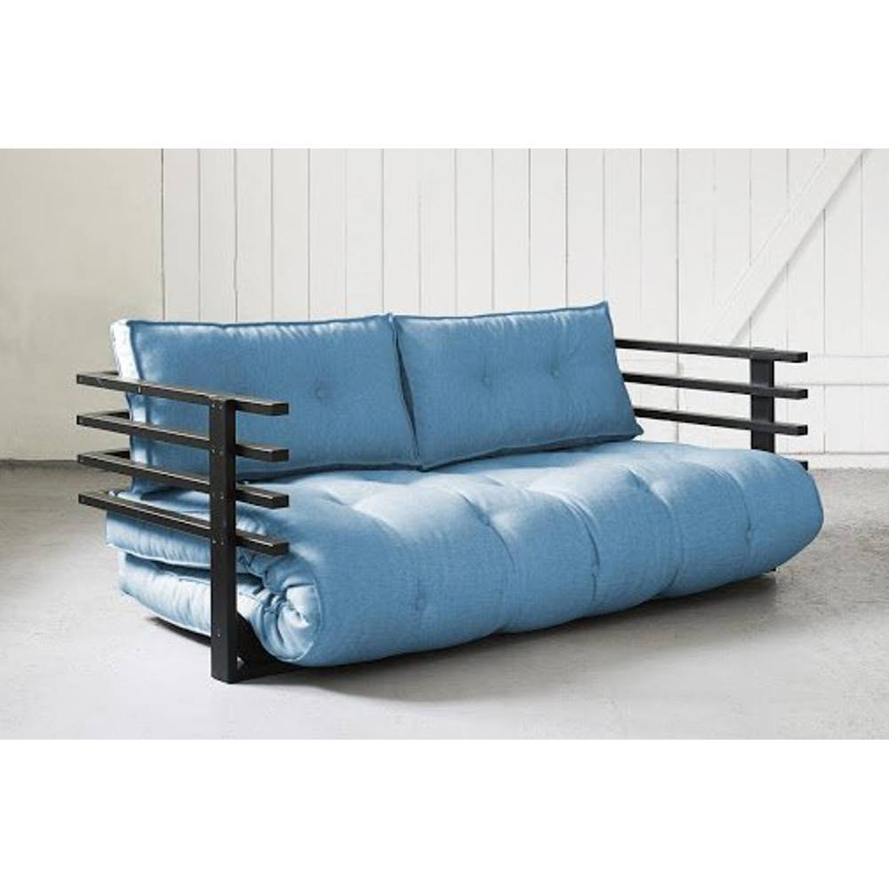 canap s futon canap s et convertibles canap convertible noir funk futon bleu azur couchage. Black Bedroom Furniture Sets. Home Design Ideas