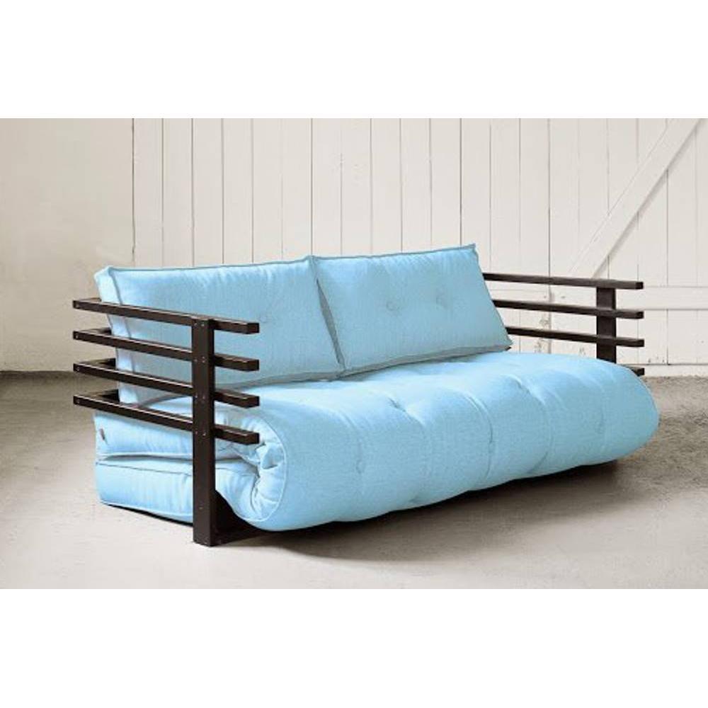 Canap s futon canap s et convertibles canap convertible noir funk futon bleu celeste couchage - Canape futon convertible ...