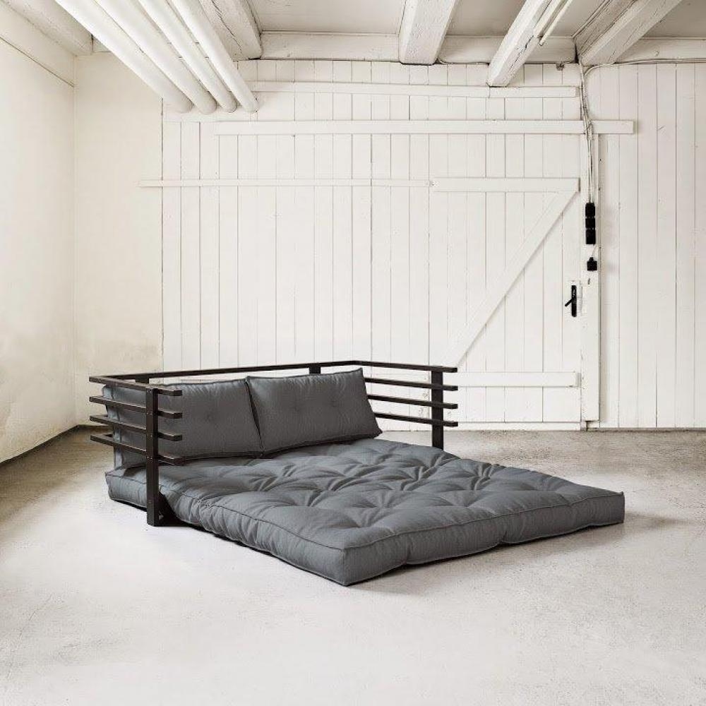 canap convertible noir funk futon gris couchage 160 190cm ebay. Black Bedroom Furniture Sets. Home Design Ideas