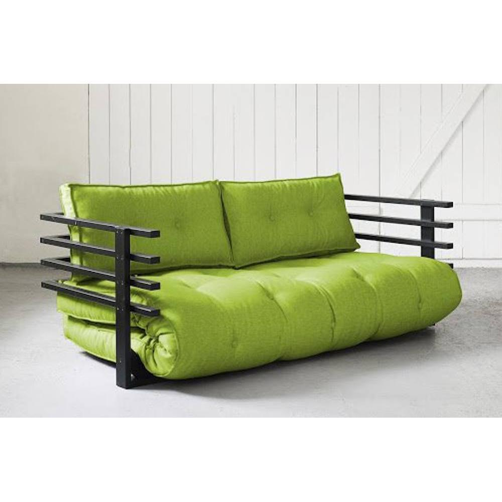 canap s futon canap s et convertibles canap convertible noir funk futon lime couchage 160. Black Bedroom Furniture Sets. Home Design Ideas