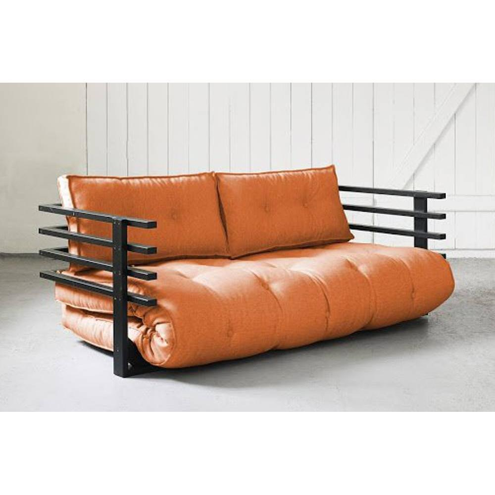 canap s futon canap s et convertibles canap convertible noir funk futon orange couchage 160. Black Bedroom Furniture Sets. Home Design Ideas