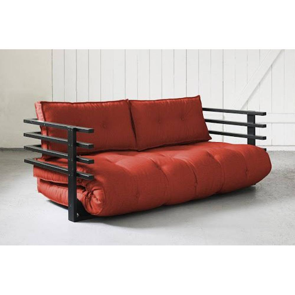 canap s futon canap s et convertibles canap convertible noir funk futon rouge couchage 160 190cm. Black Bedroom Furniture Sets. Home Design Ideas