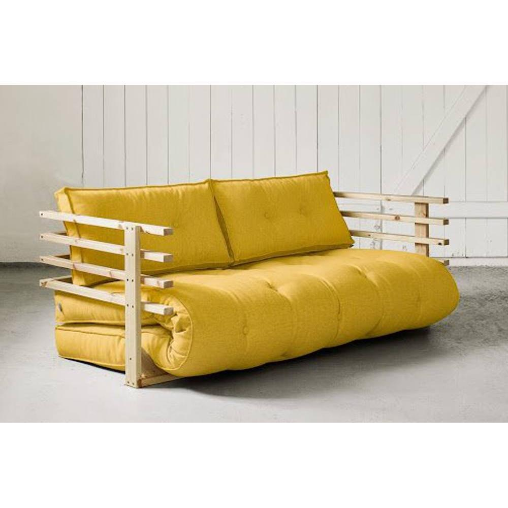 canap s futon canap s et convertibles canap convertible en pin massif funk futon jaune. Black Bedroom Furniture Sets. Home Design Ideas