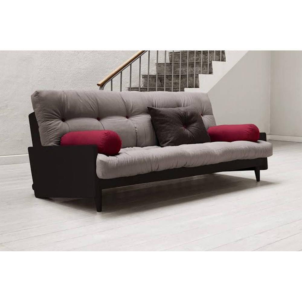 canap s futon canap s et convertibles canap noir 3 4 places convertible indie futon gris. Black Bedroom Furniture Sets. Home Design Ideas
