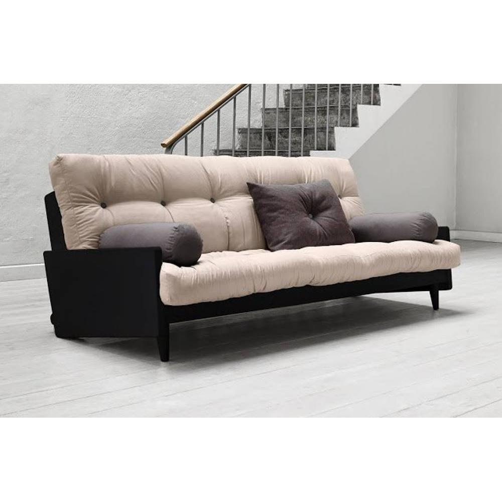 canap s futon canap s et convertibles canap noir 3 4 places convertible indie futon taupe. Black Bedroom Furniture Sets. Home Design Ideas