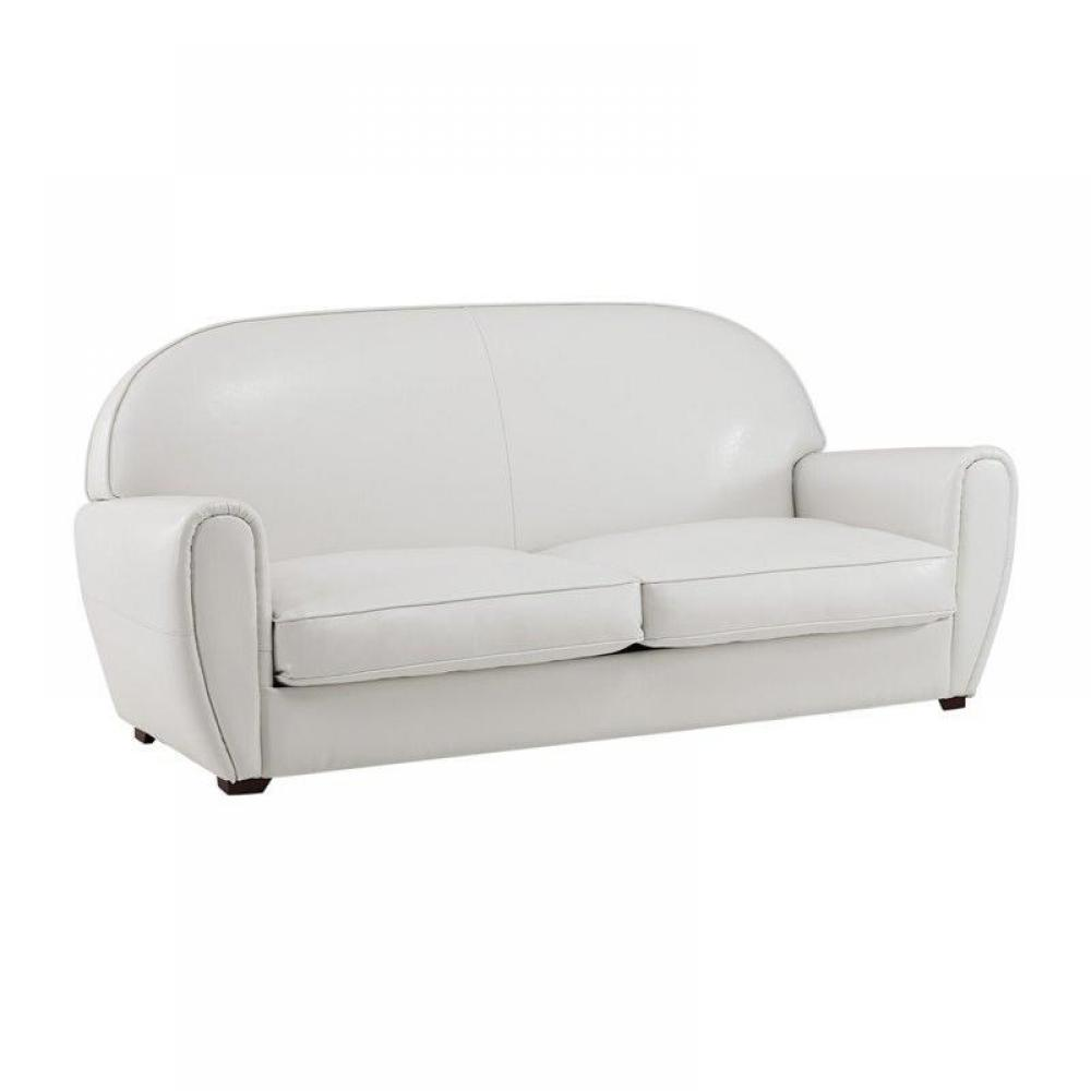 Canap club blanc 3 places en cuir recycl made in italy for Monsieur meuble canape cuir blanc