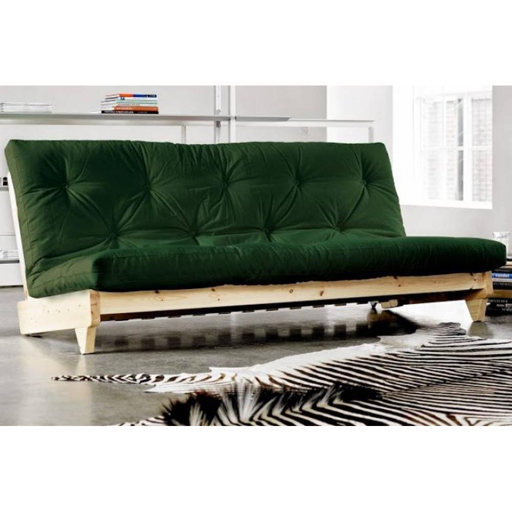 Canap s futon canap s et convertibles banquette lit futon vert bouteille fr - Banquette futon convertible ...