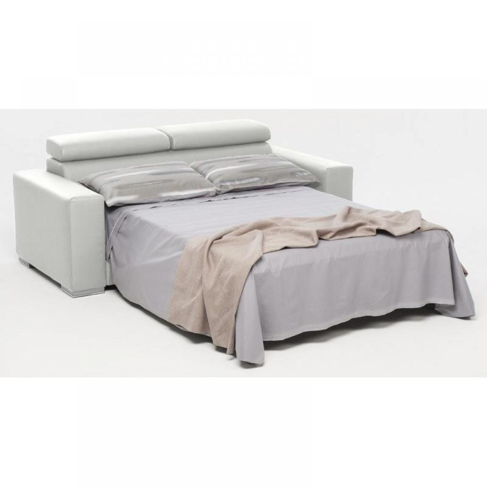 Canap convertible expresso simili cuir blanc ouverture for Canape simili cuir blanc